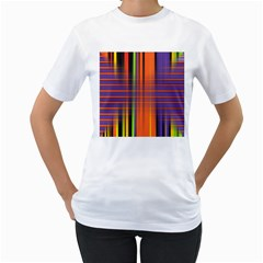 Background Texture Patterncake Happy Birthday Women s T-Shirt (White) (Two Sided)