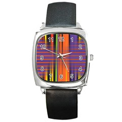 Background Texture Patterncake Happy Birthday Square Metal Watch