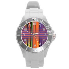 Background Texture Patterncake Happy Birthday Round Plastic Sport Watch (L)