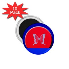 Blue Background Butterflies Frame 1.75  Magnets (10 pack)