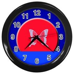 Blue Background Butterflies Frame Wall Clocks (Black)
