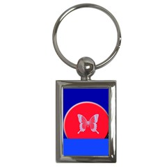 Blue Background Butterflies Frame Key Chains (Rectangle)
