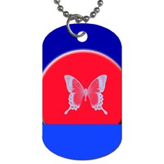 Blue Background Butterflies Frame Dog Tag (Two Sides)