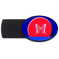 Blue Background Butterflies Frame USB Flash Drive Oval (1 GB)