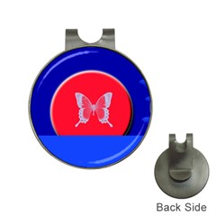 Blue Background Butterflies Frame Hat Clips with Golf Markers