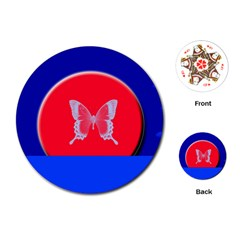 Blue Background Butterflies Frame Playing Cards (Round)