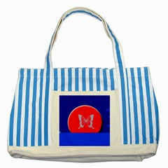 Blue Background Butterflies Frame Striped Blue Tote Bag