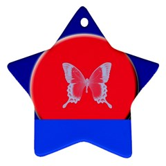 Blue Background Butterflies Frame Star Ornament (Two Sides)