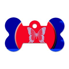 Blue Background Butterflies Frame Dog Tag Bone (Two Sides)