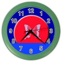 Blue Background Butterflies Frame Color Wall Clocks