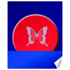 Blue Background Butterflies Frame Canvas 11  x 14