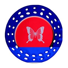 Blue Background Butterflies Frame Round Filigree Ornament (Two Sides)