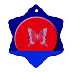 Blue Background Butterflies Frame Snowflake Ornament (Two Sides)