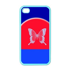 Blue Background Butterflies Frame Apple iPhone 4 Case (Color)