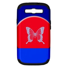 Blue Background Butterflies Frame Samsung Galaxy S III Hardshell Case (PC+Silicone)