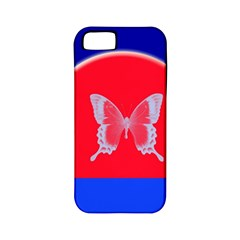 Blue Background Butterflies Frame Apple iPhone 5 Classic Hardshell Case (PC+Silicone)
