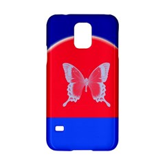Blue Background Butterflies Frame Samsung Galaxy S5 Hardshell Case