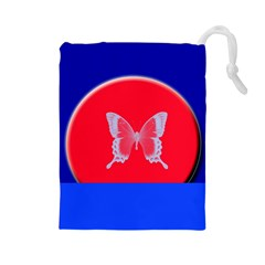 Blue Background Butterflies Frame Drawstring Pouches (Large)