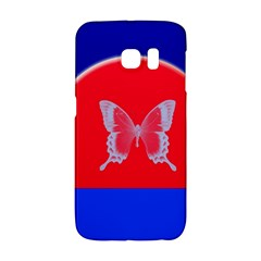 Blue Background Butterflies Frame Galaxy S6 Edge