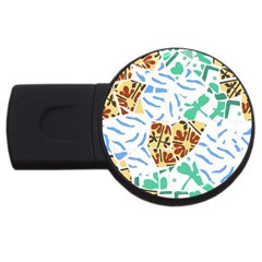 Broken Tile Texture Background USB Flash Drive Round (2 GB)