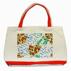 Broken Tile Texture Background Classic Tote Bag (Red)