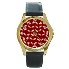 Christmas Crackers Round Gold Metal Watch