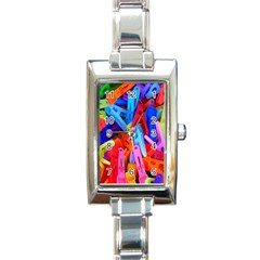 Clothespins Colorful Laundry Jam Pattern Rectangle Italian Charm Watch