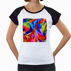 Clothespins Colorful Laundry Jam Pattern Women s Cap Sleeve T