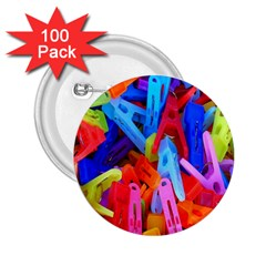 Clothespins Colorful Laundry Jam Pattern 2.25  Buttons (100 pack)