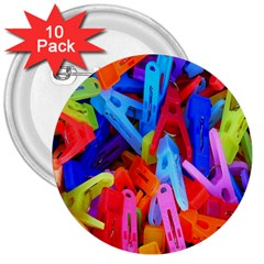 Clothespins Colorful Laundry Jam Pattern 3  Buttons (10 pack)