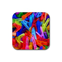 Clothespins Colorful Laundry Jam Pattern Rubber Coaster (Square)