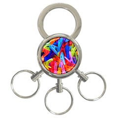 Clothespins Colorful Laundry Jam Pattern 3-Ring Key Chains
