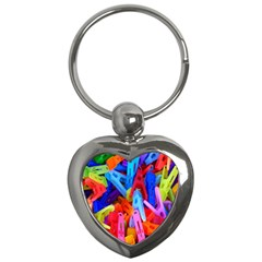Clothespins Colorful Laundry Jam Pattern Key Chains (Heart)