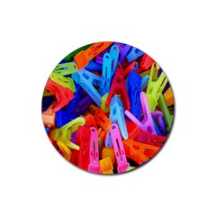 Clothespins Colorful Laundry Jam Pattern Rubber Round Coaster (4 pack)