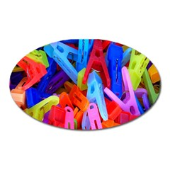 Clothespins Colorful Laundry Jam Pattern Oval Magnet