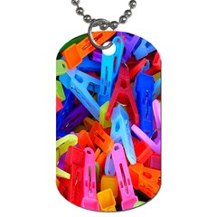 Clothespins Colorful Laundry Jam Pattern Dog Tag (One Side)