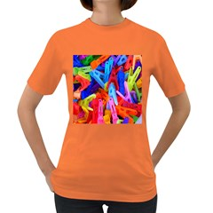 Clothespins Colorful Laundry Jam Pattern Women s Dark T Shirt