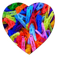 Clothespins Colorful Laundry Jam Pattern Jigsaw Puzzle (Heart)