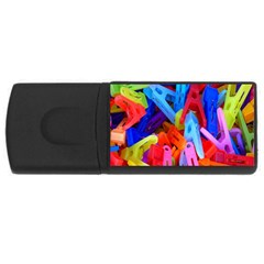Clothespins Colorful Laundry Jam Pattern USB Flash Drive Rectangular (4 GB)