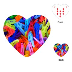 Clothespins Colorful Laundry Jam Pattern Playing Cards (Heart)