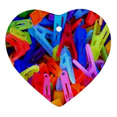 Clothespins Colorful Laundry Jam Pattern Heart Ornament (Two Sides)