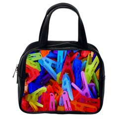 Clothespins Colorful Laundry Jam Pattern Classic Handbags (One Side)