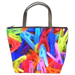 Clothespins Colorful Laundry Jam Pattern Bucket Bags