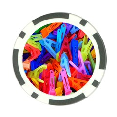 Clothespins Colorful Laundry Jam Pattern Poker Chip Card Guard (10 pack)