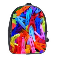 Clothespins Colorful Laundry Jam Pattern School Bags(Large)