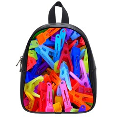 Clothespins Colorful Laundry Jam Pattern School Bags (Small)