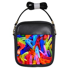 Clothespins Colorful Laundry Jam Pattern Girls Sling Bags