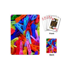 Clothespins Colorful Laundry Jam Pattern Playing Cards (Mini)