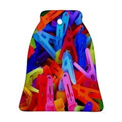 Clothespins Colorful Laundry Jam Pattern Ornament (Bell)