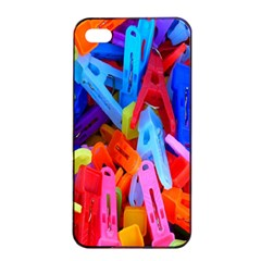 Clothespins Colorful Laundry Jam Pattern Apple iPhone 4/4s Seamless Case (Black)